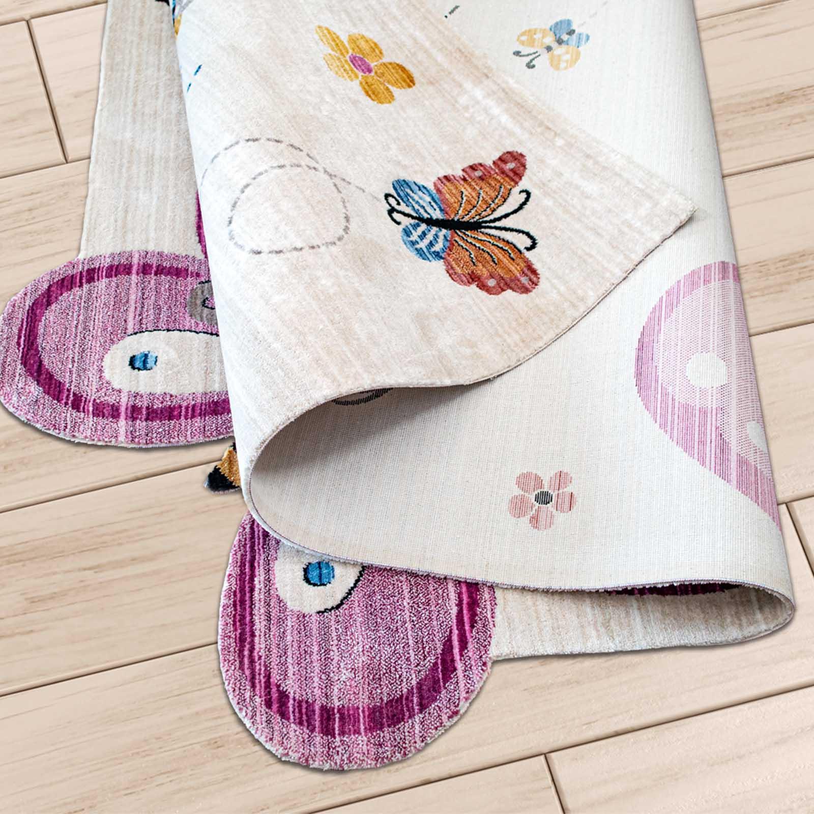 Angora Home Kids Kelebek Desenli Pembe Çocuk Halısı - 5