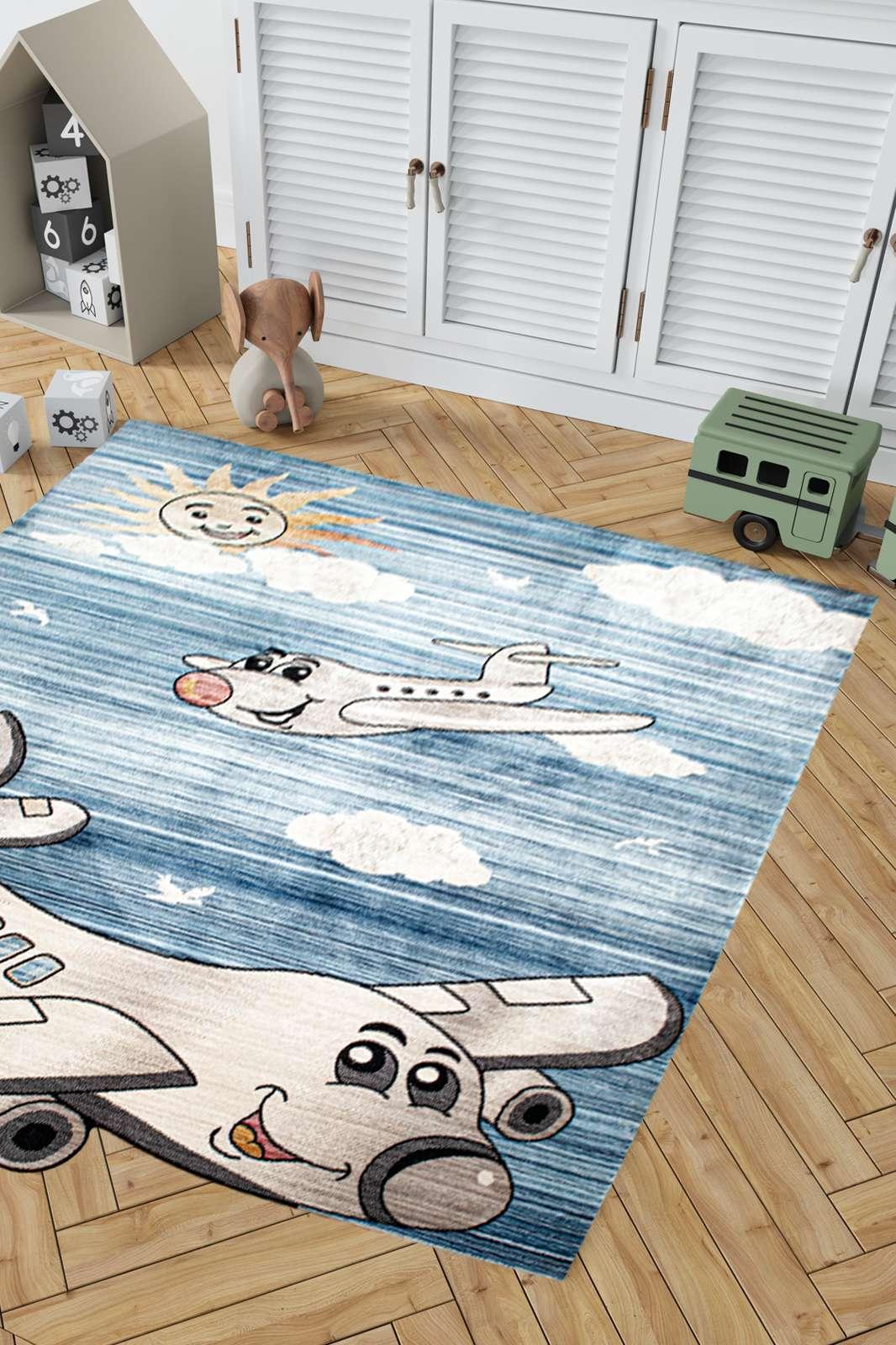 Angora Home Kids Uçak Desenli Mavi Çocuk Halısı - 2