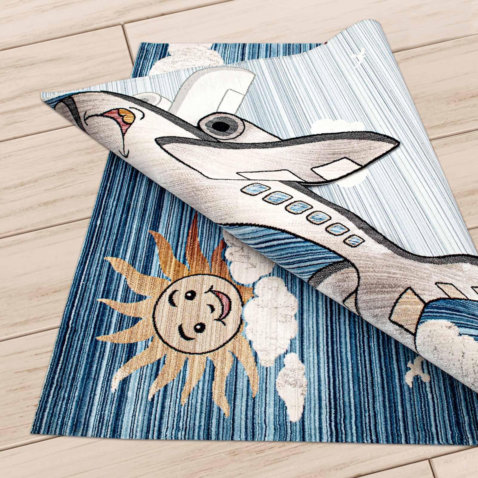 Angora Home Kids Uçak Desenli Mavi Çocuk Halısı - 3