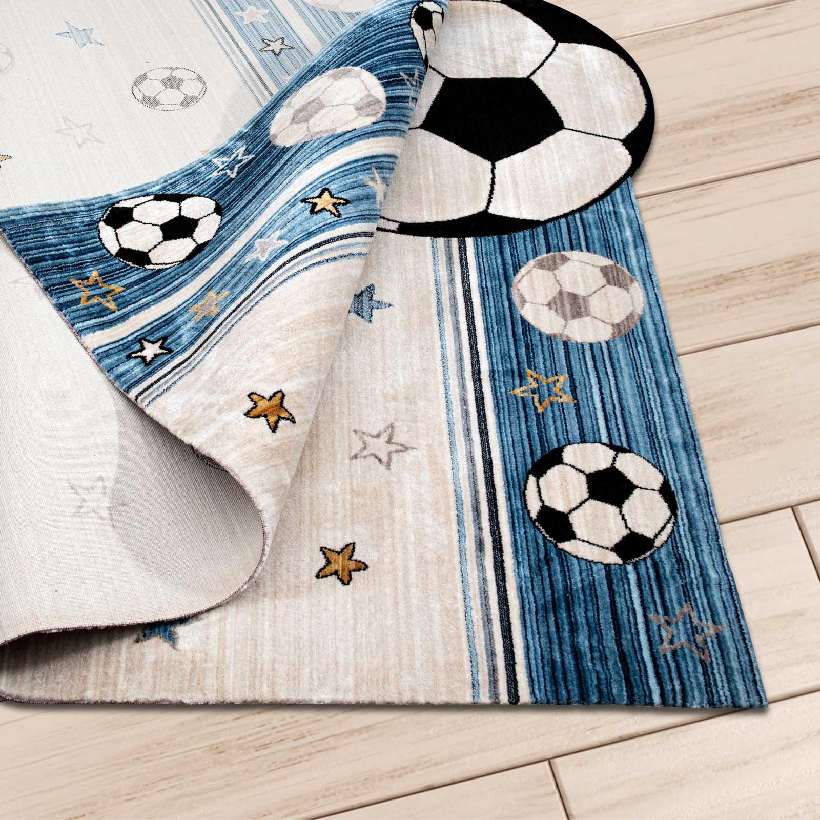 Angora Home Kids Futboltopu Desenli Mavi Çocuk Halısı - 3