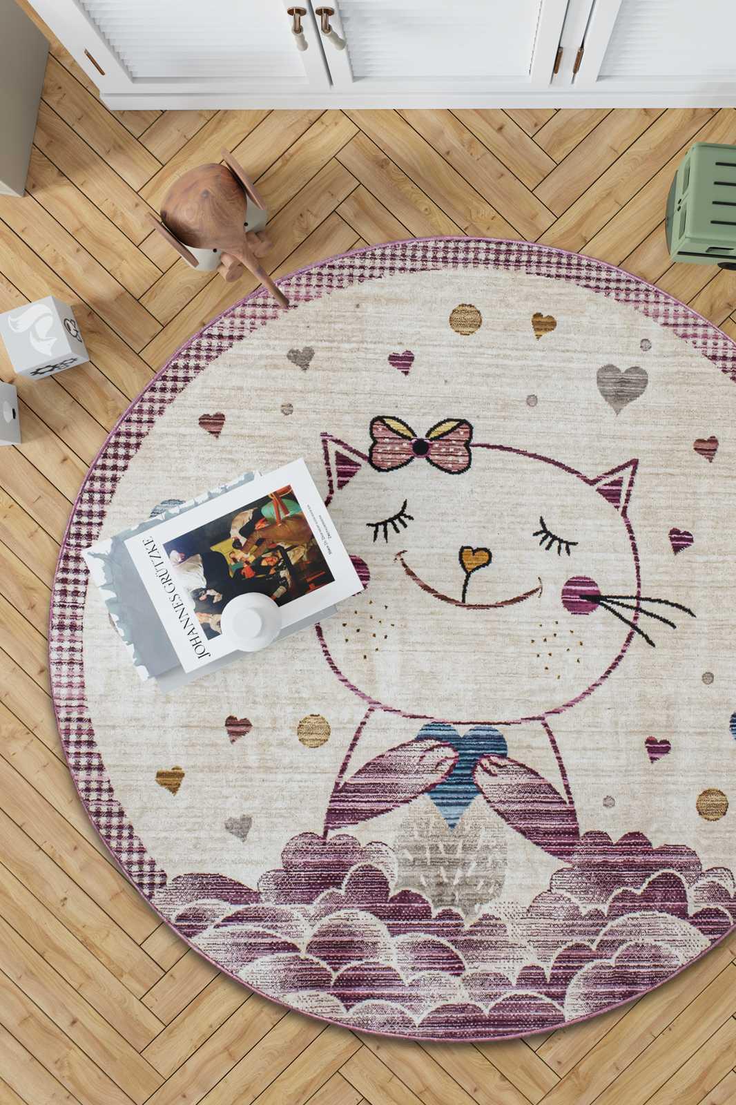 Angora Home Kids Kedili Oval Pembe Çocuk Halısı
