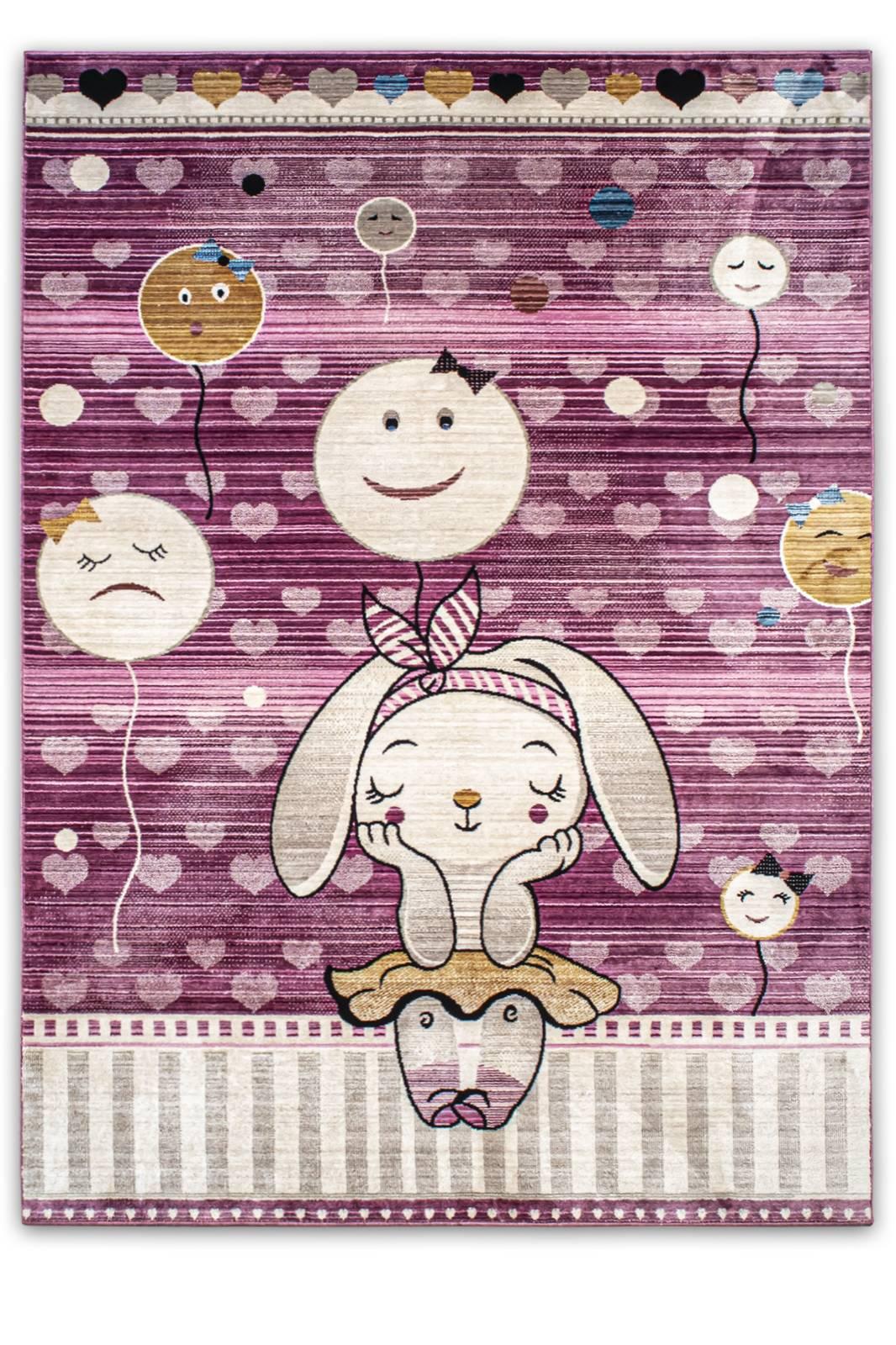 Angora Home Kids Tavşan Desenli Pembe Çocuk Halısı