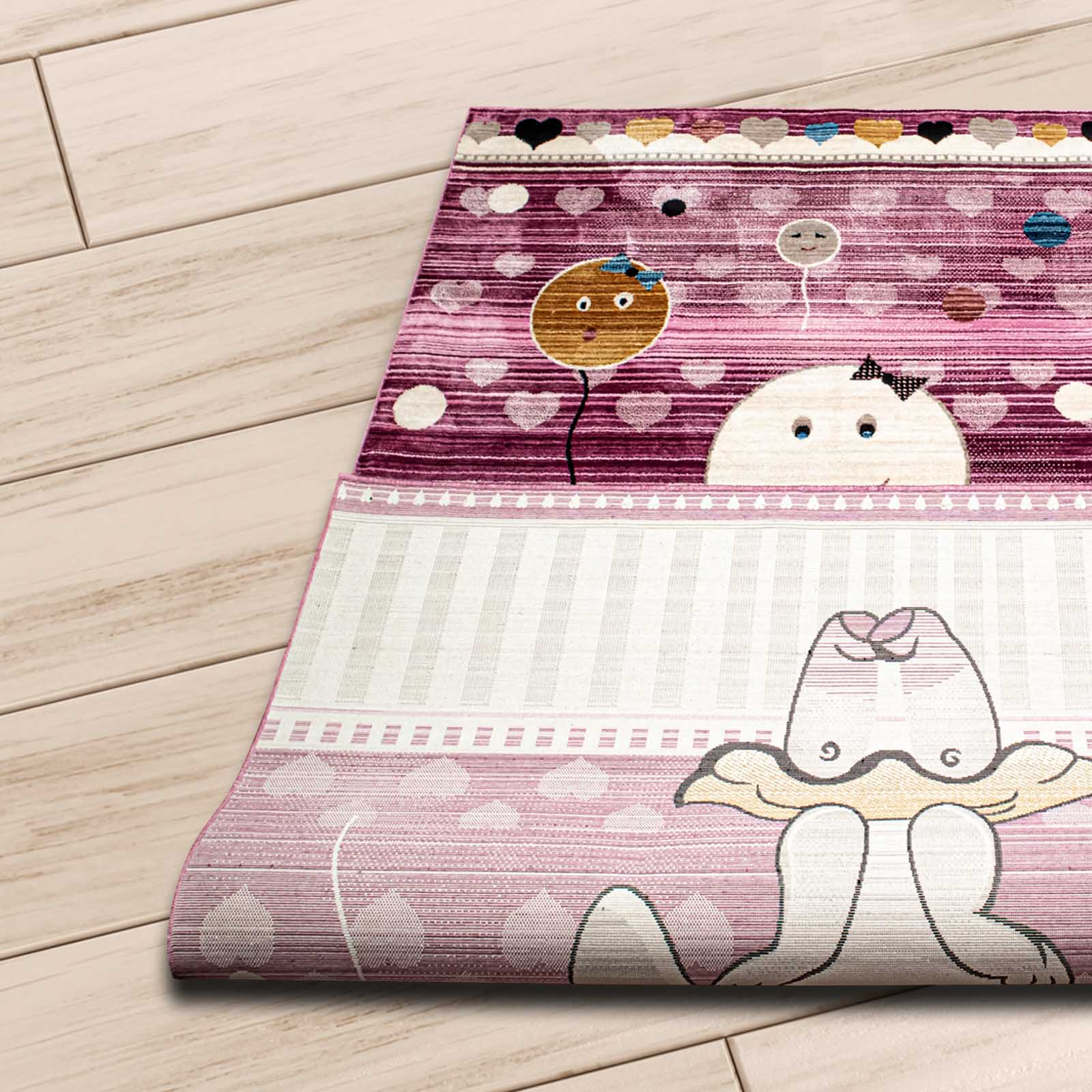 Angora Home Kids Tavşan Desenli Pembe Çocuk Halısı - 3