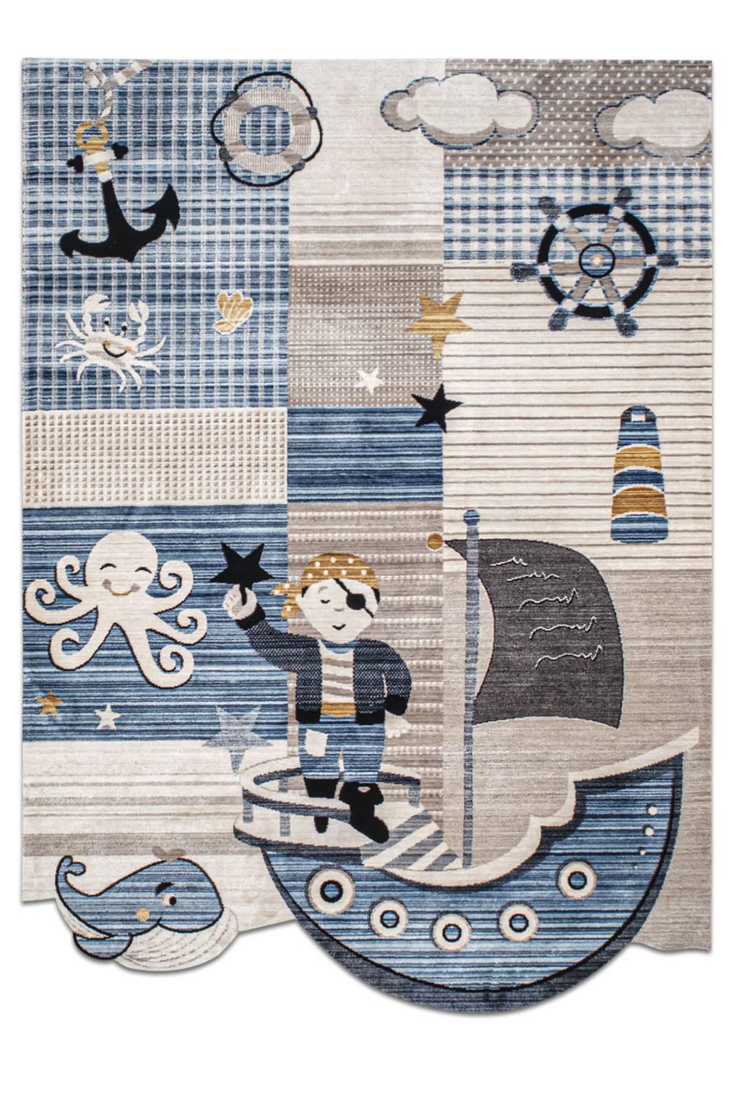 Angora Home Kids Gemi Desenli Mavi Çocuk Halısı - 1