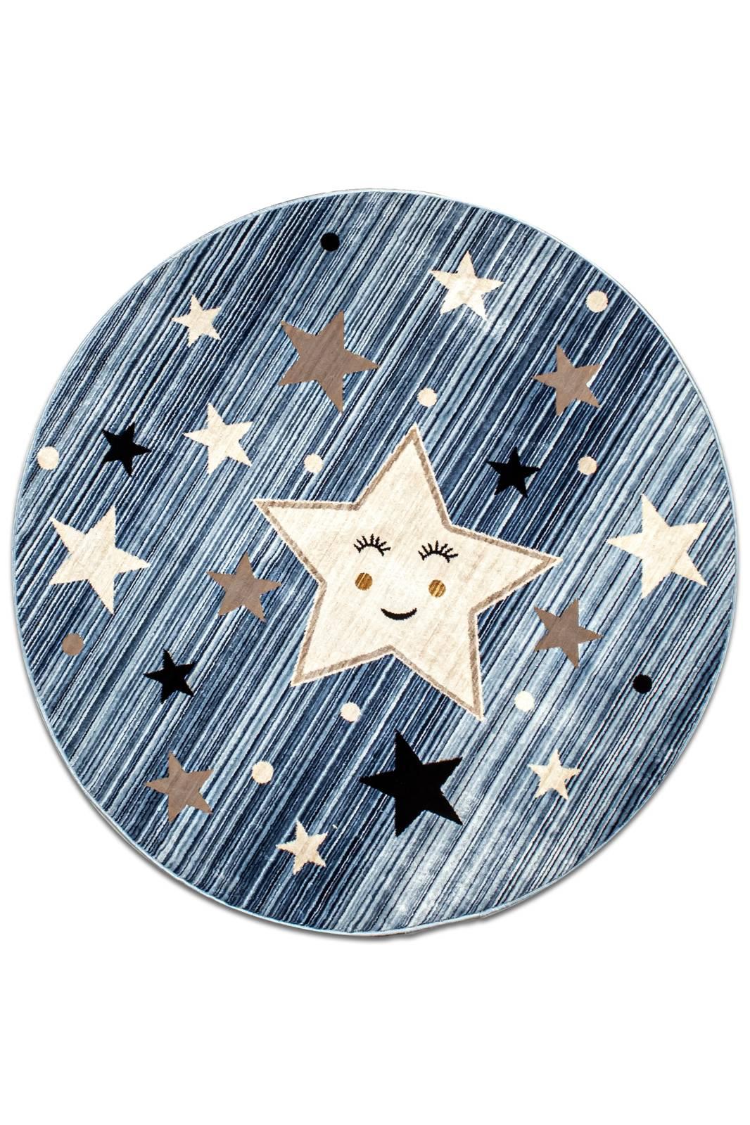 Angora Home Kids Yıldız Desenli Oval Mavi Çocuk Halısı - 1