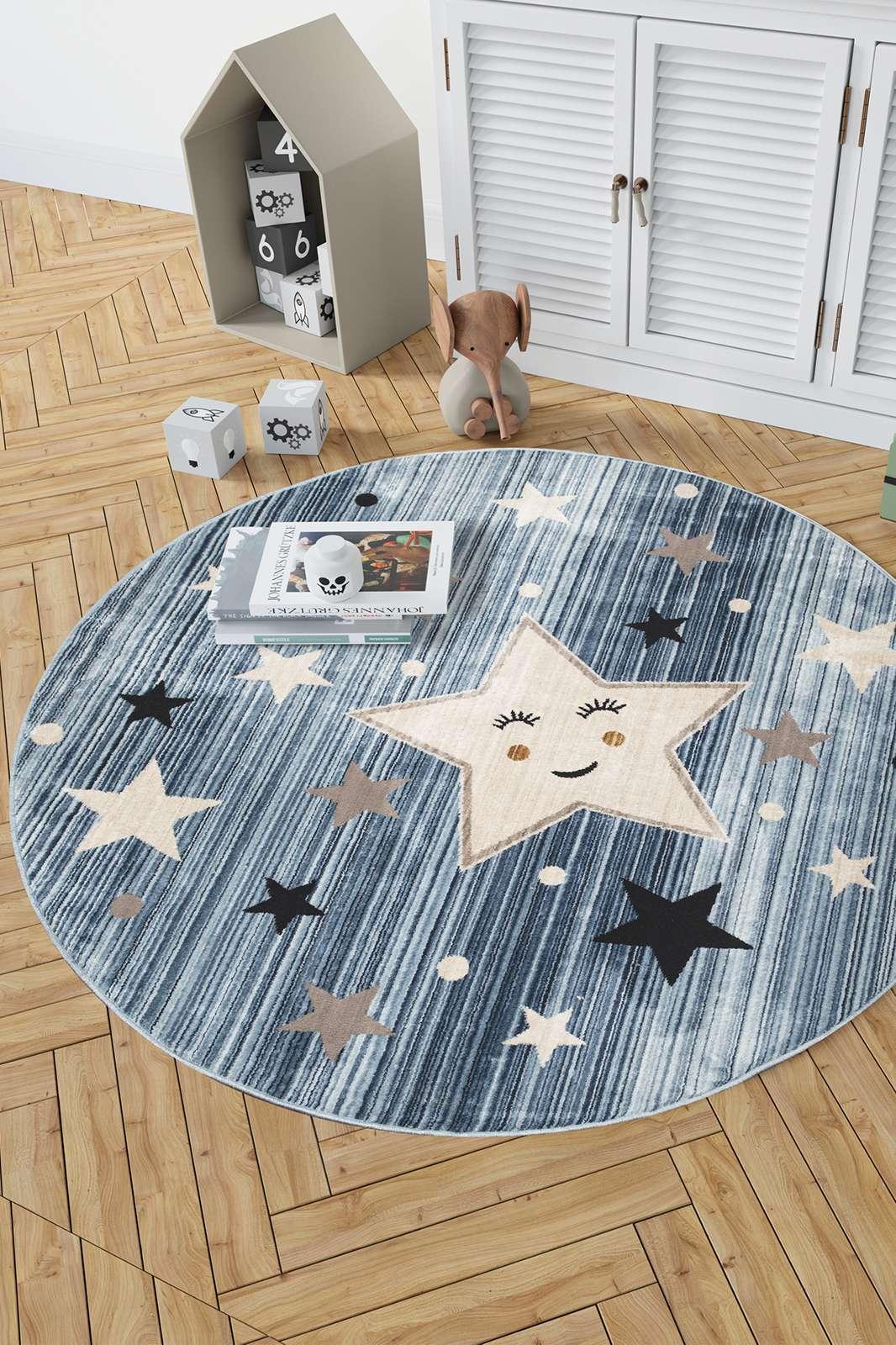Angora Home Kids Yıldız Desenli Oval Mavi Çocuk Halısı - 2