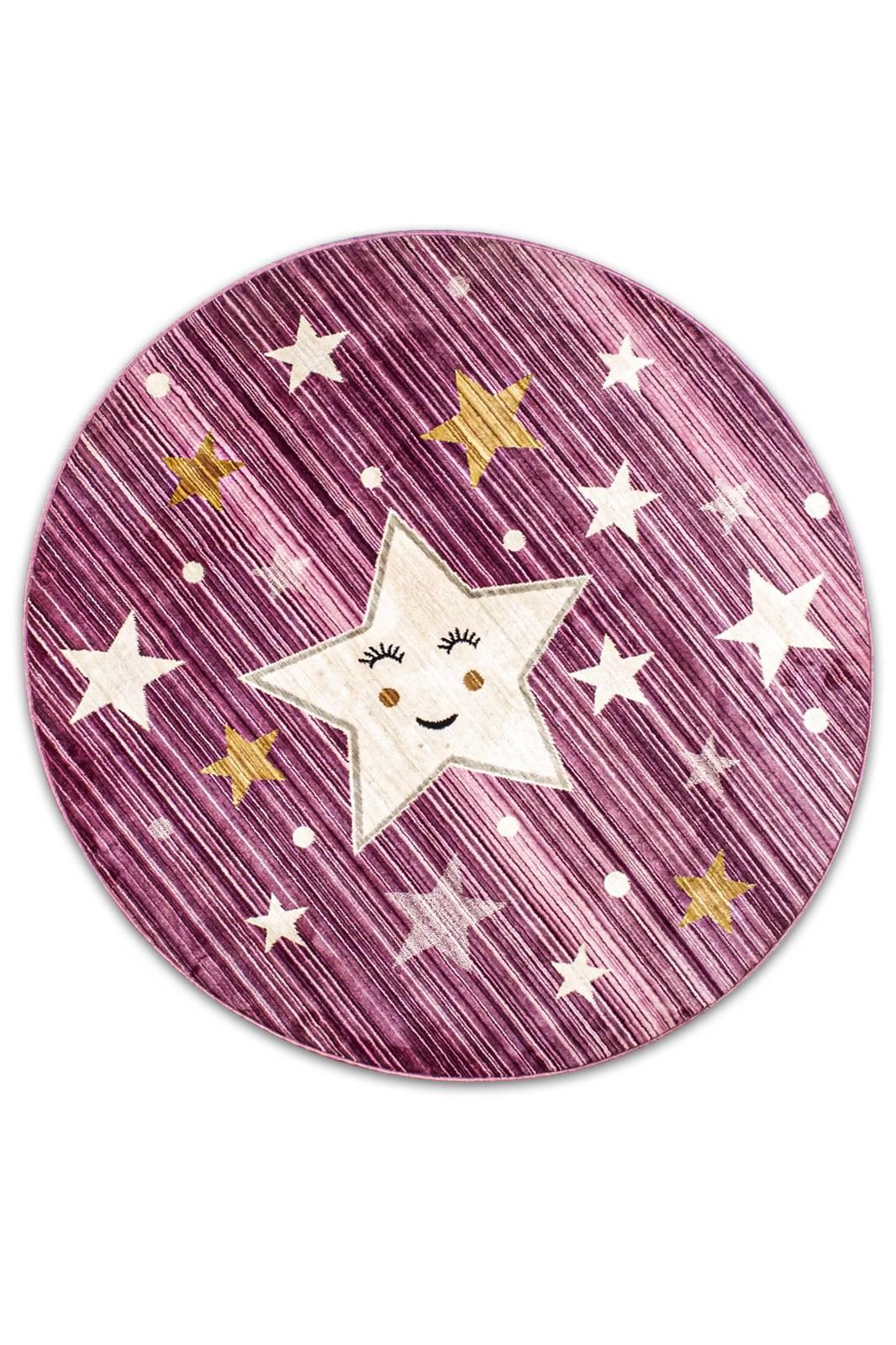 Angora Home Kids Yıldız Desenli Oval Pembe Çocuk Halısı