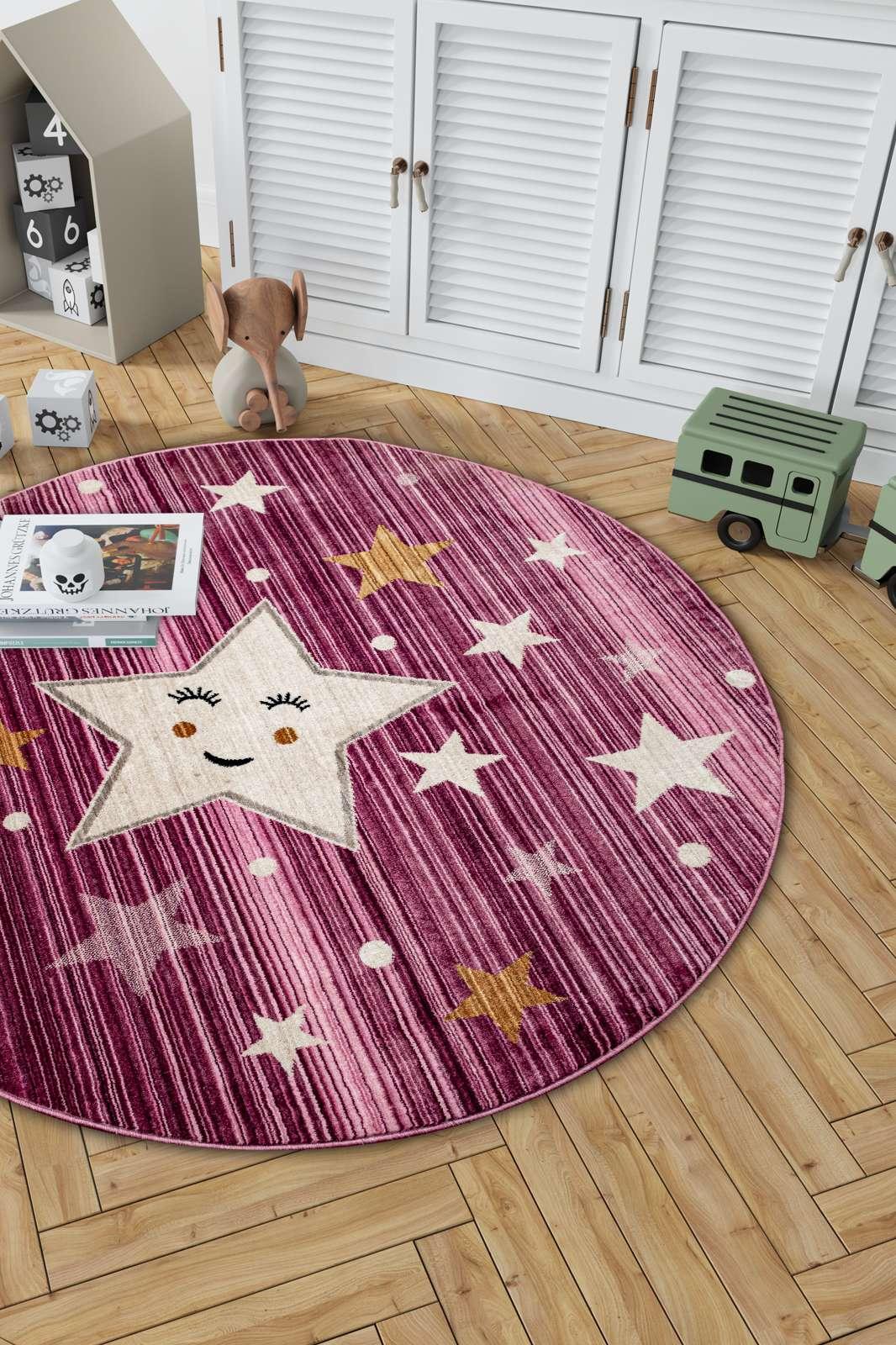 Angora Home Kids Yıldız Desenli Oval Pembe Çocuk Halısı - 2