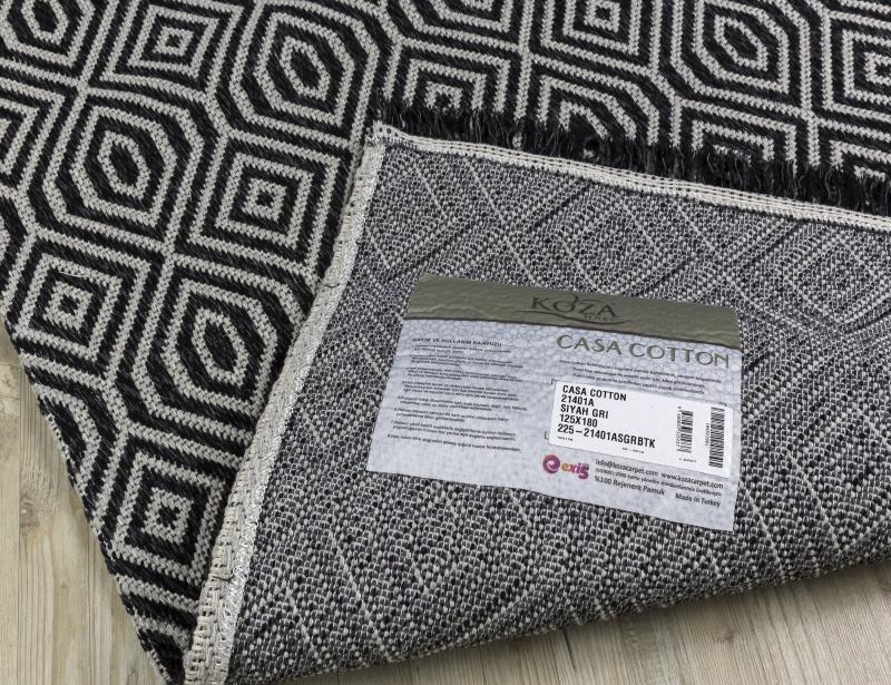 Koza Halı Casa Cotton Siyah Gri Kilim 21401A - 5