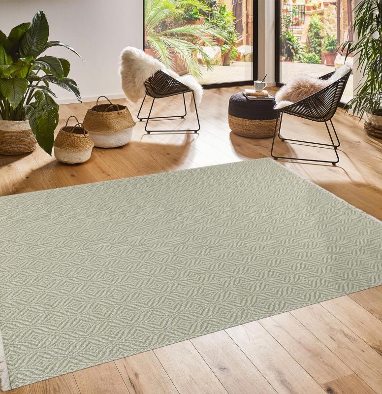 Koza Halı Casa Cotton Yeşil Krem Kilim 21403A - 1