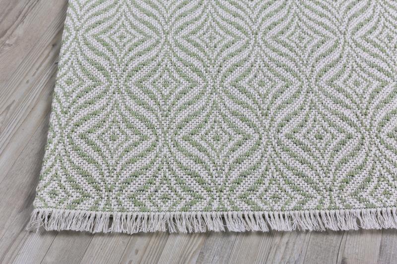 Koza Halı Casa Cotton Yeşil Krem Kilim 21403A - 3