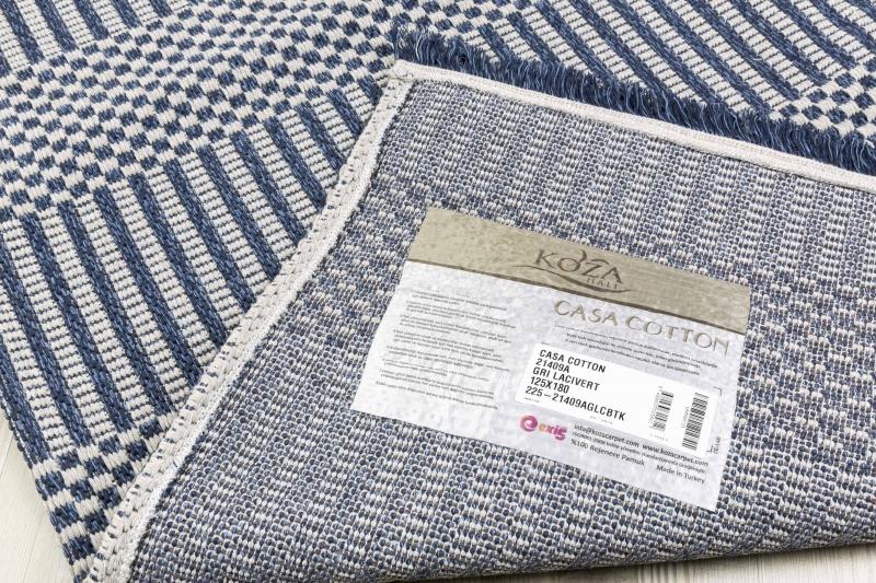 Koza Halı Casa Cotton Gri Lacivert Kilim 21409A - 5