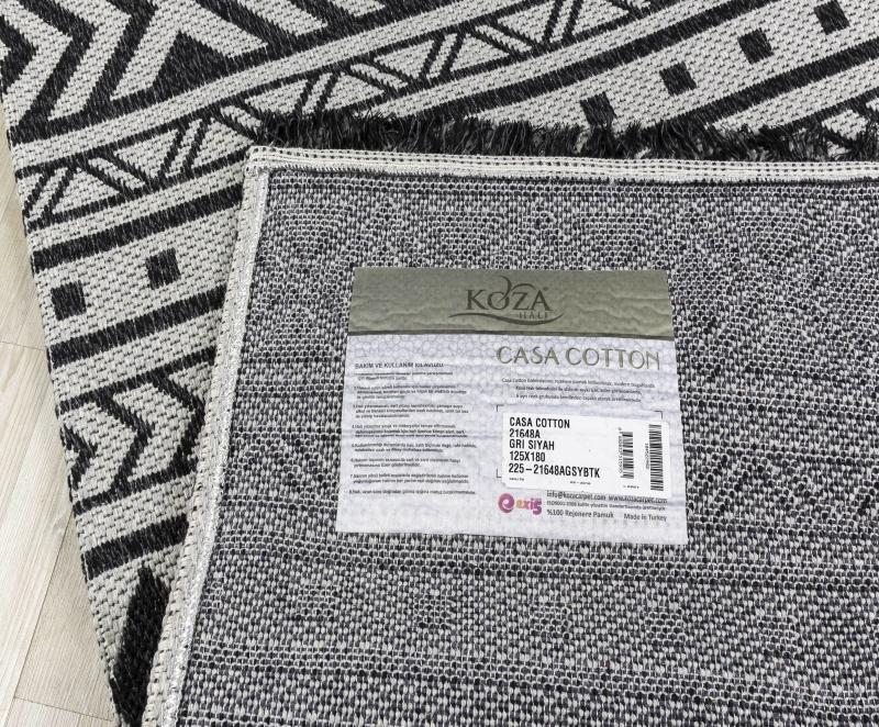 Koza Halı Casa Cotton Gri Siyah Kilim 21648A - 5