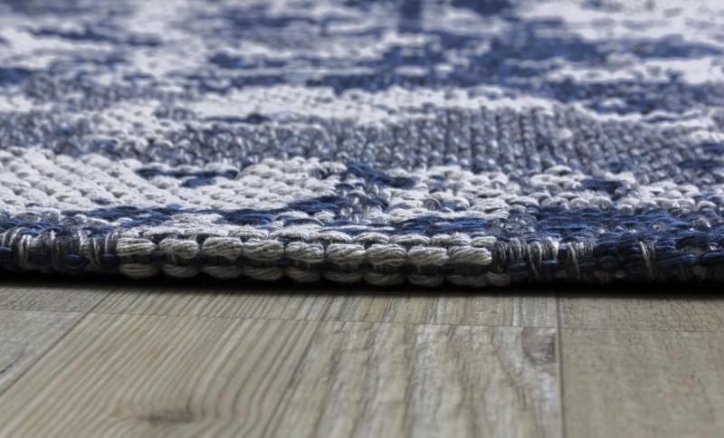 Koza Halı Casa Cotton Lacivert Antrasit Kilim B2694A - 5