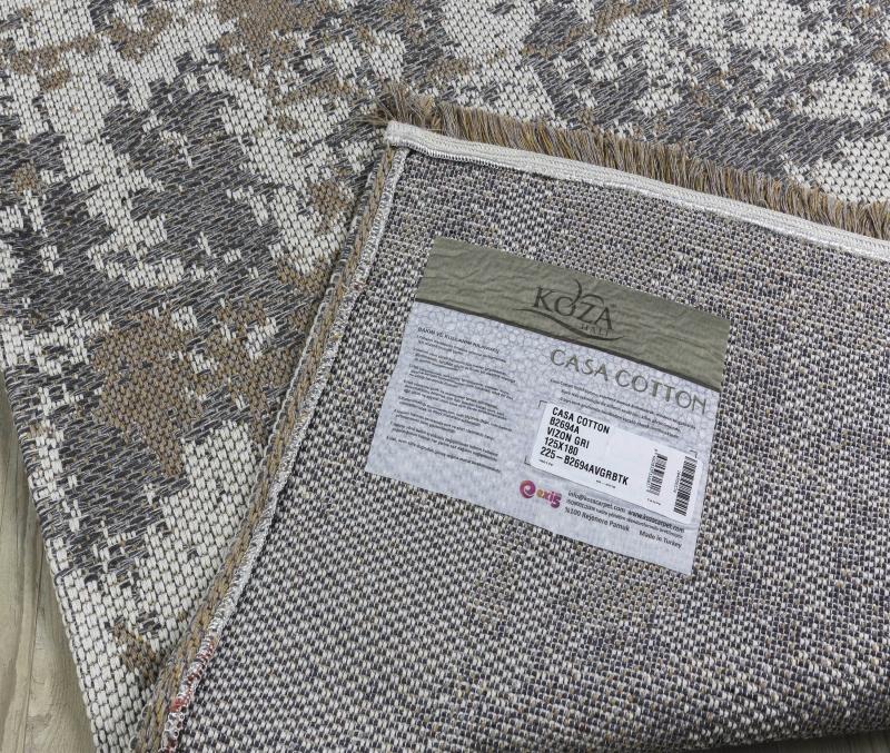 Koza Halı Casa Cotton Vizon Gri Kilim B2694A - 5